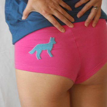 NEW Foxy Pants aqua on hot pink hot shorts underwear by Eristotle