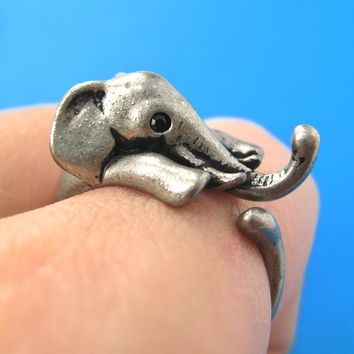 Elephant Animal Wrap Around Ring in Silver - Sizes 4 to 15 Available -