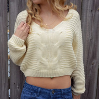 Creme Crop Top Cable Knit Sweater