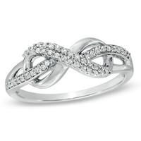 1/5 CT. T.W. Diamond Infinity Loop Ring in Sterling Silver