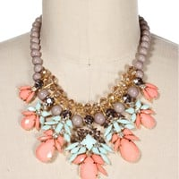 Pre-Order: Gr/Mt/Pe Stone Drop Statement Necklace