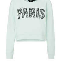 Teens Mint Green Paris Cropped Sweater