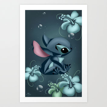 Stitch Origami  Art Print by LouJah