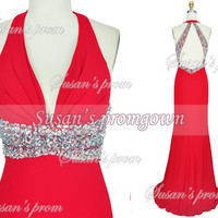 Red Prom Dress Straps Beading Backless Chiffon Dresses, Prom Dress,Evening Dress,Wedding Dresses,Bridesmaid Dress