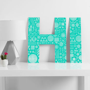 Nick Nelson Modern Elements In Turquoise Decorative Letters