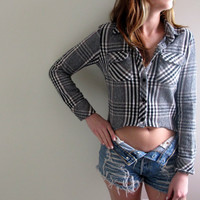 Hi Low Plaid Shirt Flannel Womens High Lo Cropped Crop Top Grey Tunic Button Up Down Grunge Size Small Medium Western Midriff