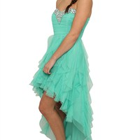 Strapless High Low Prom Dress with Stone Neckline and Tendril Skirt