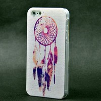 Purple Dreamcatcher Aztec Mayan Pattern Clear Snap On Case iPhone 5 5G Plastic Cover INDIAN feather + Screen Protector