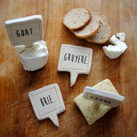 made to order* handmade cheese markers set of 4, house warming gift under 35 by nelledesign