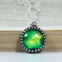 Crown Pendant, Antique Silver Green Galaxy Chain Necklace, Glass Dome Resin Pendant