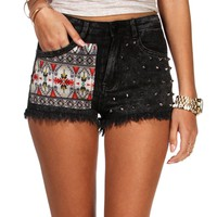 Dark Gray Tribal Studded Shorts