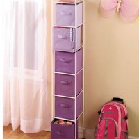 Purple 6 Bin Storage Unit with Bins - Perfect Teen - Girls Bedroom