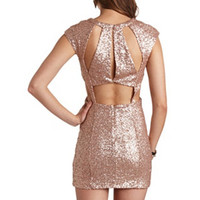 BACKLESS CUT-OUT SEQUIN DRESS