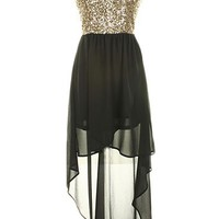Sequin High Low Dress - Kely Clothing
