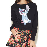 Lilo & Stitch Kisses Crop Sweatshirt | Wet Seal