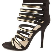 GOLD-PLATED STRAPPY HIGH HEELS