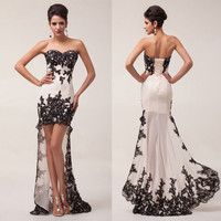 2014 Stock Lace Strapless High-Low Ball Gown Evening Prom Bridesmaid Party Dress