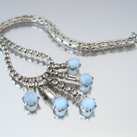LEO GLASS Faux Moonstone Rhinestone Necklace / Signed Blue Moonglow Dangle Choker / Vintage 1950s Jewelry