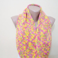 Knitted Scarf, circular Neon Color Sacarf Women's Fashion Accessories, Cozy Fashion Scarves, neck warmer, knitting scarves, handmade gift