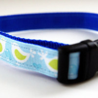 Blue Love Birds Dog Collar Adjustable Sizes (XS, S, M)