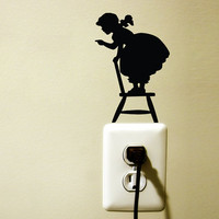children room velvet wall sticker - child standing on a chair - removable wall decal