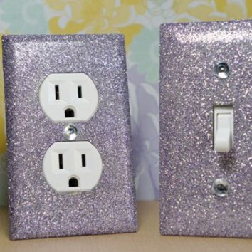 SET of SILVERY PURPLE GLITTER Switch Plates / Outlet Covers ANY STYLES