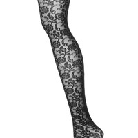 Black Rose Vine Net Tights