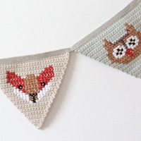Crochet Bunting Woodland Animal Nursery Decoration