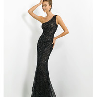 (PRE-ORDER) Blush 2014 Prom Dresses - Black Lace & Jewel One Shoulder Prom Gown