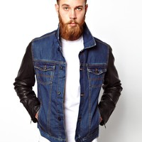 ASOS Denim Jacket With Leather Look Sleeves - Blue