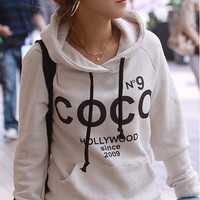 COCO No.9 Print Drawstring Hoodie Sweatshirt