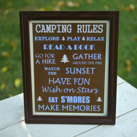 Camping Rules Framed Sign