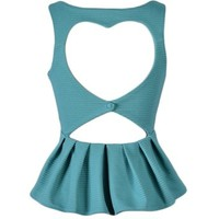 Heart Back Peplum Top - Kely Clothing