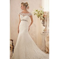 Gorgeous Off-shoulder A-line Floor Length Taffeta Lace Wedding Dress