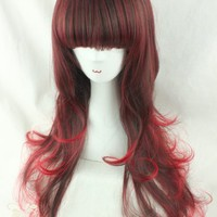 "24"" Wine Red Black Gradient Long Heat Friendly Wavy Curly Cosplay Party Hair Wig"