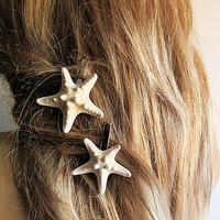 Starfish Hair Pins, Starfish Hair Accessories, Beach Bridal Accessories Beach Bridesmaids Gifts Mermaid, 2 Starfish ONE PRICE