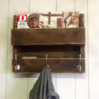 Reclaimed Wood Coat Rack & Shelf