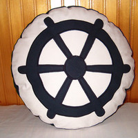NAUTICAL PILLOW - Ocean Beach Theme - blue white - HET -