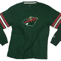 Minnesota Wild NHL Mens Long Sleeve Crew Shirt, Vintage Logo, Dark Green