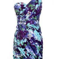 Purple Floral Dress - One Shoulder Floral Dress | UsTrendy