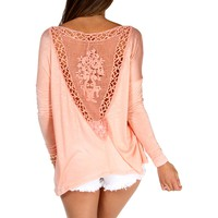 Blush Pink Crochet Back Top
