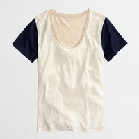Factory colorblock linen tee - short sleeve - FactoryWomen's Knits & Tees - J.Crew Factory