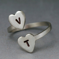 Adjustable Personalized Double Heart Ring - SILVER