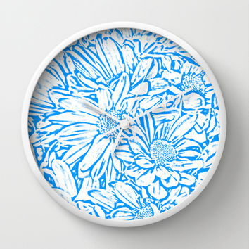 Daisy Daisy in Blue Skies Ahead Wall Clock by Lisa Argyropoulos