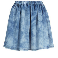 Light Blue Denim Acid Wash Skater Skirt