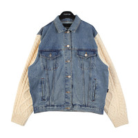 Knit Sleeved Denim Jacket