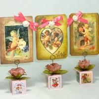 Miniature Valentine Blocks, Vintage Inspired, Note Holders, Set of 3 in Pink, One of a Kind, Valentine's Day Decor with 3 Cherub Cards included.