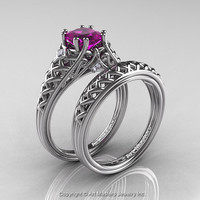 Classic French 14K White Gold 1.0 Ct Princess Amethyst Diamond Lace Engagement Ring Wedding Band Set R175PS-14KWGDAM