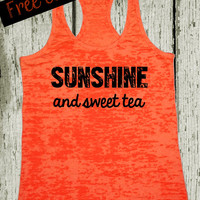 Sunshine and Sweet Tea. Southern Girl Tank. Country Tank Top. Southern Tank. Country Shirt. Orange Tank. Southern Clothing. Free Shipping