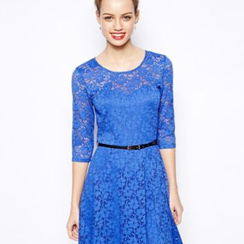 New Look 3/4 Sleeve Lace Skater Dress